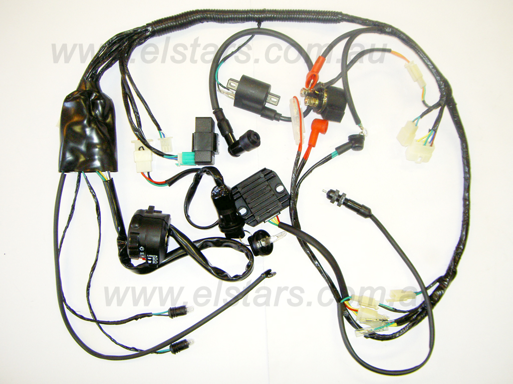 hnskt125s full wiring kit for electric start quad bikes manual and auto wiring diagram for electric start pit bike at aneh.co